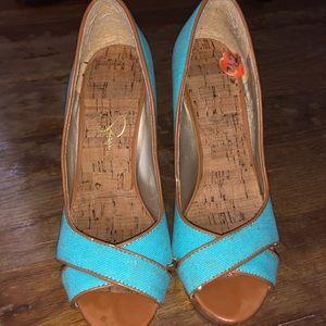 5,5 Open toe high blue wedges